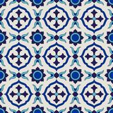 Seamless pattern from colorful floral Moroccan, Portuguese tiles, Azulejo, ornaments. Royalty Free Stock Photography