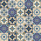 Seamless pattern from colorful floral Moroccan, Portuguese tiles, Azulejo, ornaments. royalty free illustration