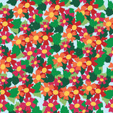 Seamless pattern of colorful flower and leaf background Stock Images