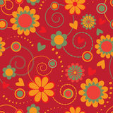 Seamless pattern with colorful flowers Stock Photos