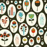 Seamless pattern with colorful flowers on black background. Royalty Free Stock Image