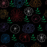 Seamless pattern with colorful flowers on black. Background with colorful decorative flowers on black stock illustration