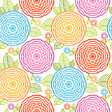 Seamless pattern with colorful flowers. Stock Photos