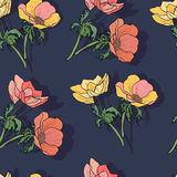 Seamless pattern with colorful flowers. Royalty Free Stock Photo