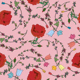 Seamless pattern with colorful flowers. Royalty Free Stock Photography