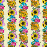 Seamless pattern with colorful flowers Royalty Free Stock Photo
