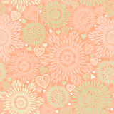Seamless Pattern with colorful flowers and hearts. Stock Images