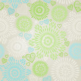 Seamless Pattern with colorful flowers and hearts Royalty Free Stock Photography