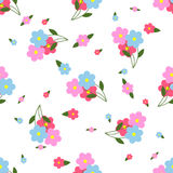 Seamless Pattern Colorful Flowers and Leaves Stock Photography