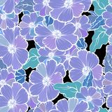 Seamless pattern with colorful flowers and leaves, soft and romantic background.  Stock Photo