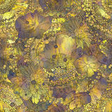 Seamless pattern of colorful flowers and leaves with texture Royalty Free Stock Photography