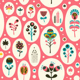 Seamless pattern with colorful flowers on pink background. Royalty Free Stock Photos