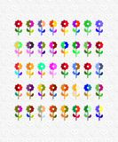 Seamless pattern of colorful flowers in retro Royalty Free Stock Image