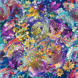 Seamless pattern of colorful flowers with texture Royalty Free Stock Photography