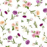 Seamless pattern with colorful flowers. Vector illustration. Royalty Free Stock Image