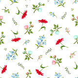 Seamless pattern with colorful flowers. Vector illustration. Stock Image