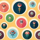 Seamless pattern with colorful flowers on yellow background. Royalty Free Stock Images