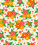 Seamless, pattern  of colorful flowes and leaves Stock Photos