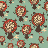 Seamless pattern with colorful flying flowers. Stock Photos