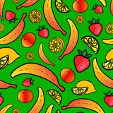 Seamless pattern with colorful fruit Stock Photography