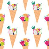 Seamless pattern of colorful fruit cones with sliced fruit. Great for textile print, summer home decor, cafe, restaurant, or packaging. Vector file stock illustration