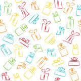 Seamless pattern with colorful funny gift boxes Royalty Free Stock Photos
