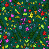 Seamless pattern colorful garden with rabbits and carrots Royalty Free Stock Photos