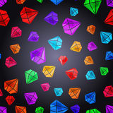 Seamless pattern with colorful gems. Vector abstract background with diamond crystals. Design element. Colorful jewel shapes. Vector illustration. Tiling texture Royalty Free Stock Image