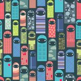 Seamless pattern with colorful ghosts. Stock Photography