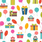 Seamless pattern with colorful gift boxes and balloons.. Birthday background. Vector illustration Stock Photography