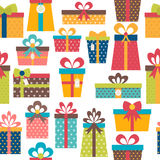 Seamless pattern with colorful gift boxes. Birthday background. Christmas theme. Vector illustration Stock Photo