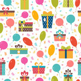 Seamless pattern with colorful gift boxes, confetti and balloons. Birthday background. Vector illustration Stock Photography