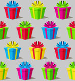 Seamless pattern with colorful gift boxes on gray background Royalty Free Stock Photo