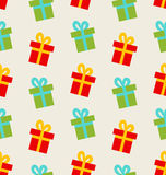 Seamless Pattern with Colorful Gift Boxes for Royalty Free Stock Image