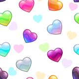 Seamless pattern with colorful glossy hearts. On white background. Vector texture Royalty Free Stock Photo