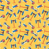 Seamless pattern of colorful gyroscooters on yellow background. Royalty Free Stock Photo