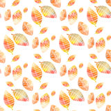 Seamless pattern with colorful hand drawing autumn leaves royalty free stock image
