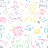 Seamless Pattern of Colorful Hand Drawn Doodle Spaceships, Rockets, Falling Stars, Planets and Comets . Sketch Style. Royalty Free Stock Photography