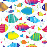 Seamless pattern of colorful hand drawn fishes Royalty Free Stock Photos