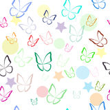 Seamless pattern with colorful hand drawn outline butterflies. Royalty Free Stock Photo
