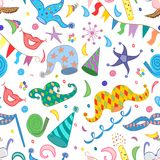 Seamless Pattern of Colorful Hand Drawn Party Symbols. Children Drawings of Party Elements Isolated on White. Royalty Free Stock Photos