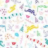 Seamless Pattern of Colorful Hand Drawn Party Symbols. Children Drawings of Party Elements. Stock Images