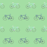 Seamless pattern with colorful hand drawn racing bikes. Royalty Free Stock Image