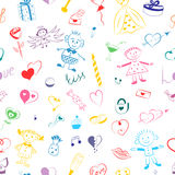 Seamless Pattern of Colorful Hand Drawn Set of Valentine`s Day Symbols. Children`s Cute Drawings of Hearts, Gifts, Rings, Balloons Stock Photography
