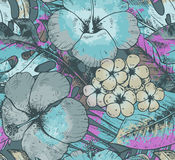 Seamless pattern with colorful hand drawn tropical plants and fl Royalty Free Stock Photography