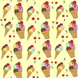 Seamless pattern with colorful hand drawn vector ice cream illustration Royalty Free Stock Images