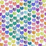 Seamless pattern of colorful hand painted aqua color hearts vector illustration