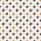 Seamless pattern of colorful hand-painted crosses Royalty Free Stock Image