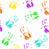 Seamless pattern colorful hand prints. On white background. Vector illustration Royalty Free Stock Image