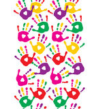 Seamless pattern with colorful handprints Royalty Free Stock Image